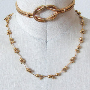 VINTAGE Gold Tone Chain Necklace Dainty Layering